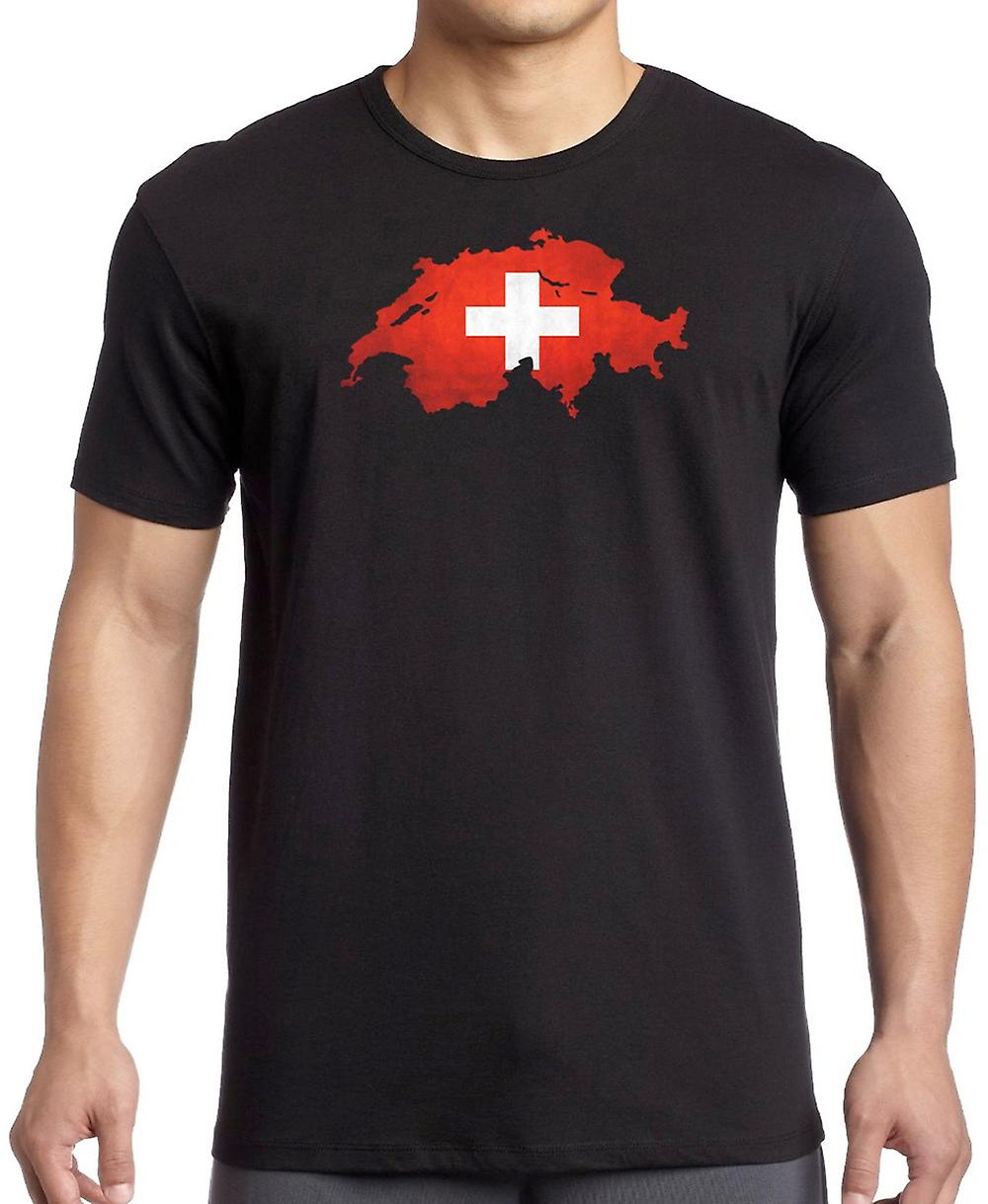Switzerland Flag Map T Shirt