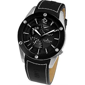 Jacques Lemans Liverpool Gmt 1-1739a Mens Genuine Leather Strap Multifunction Quartz Analog Watch