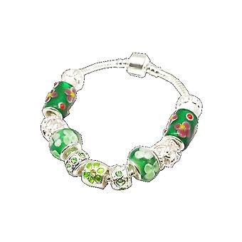 Toc Beadz Flower Green Charm Crystal Bead Bracelet