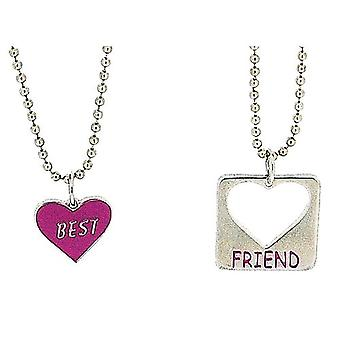 Foxy Best Friend Necklaces Heart Shaped Pendant Twin 16 Inch Chains, 2-Pack