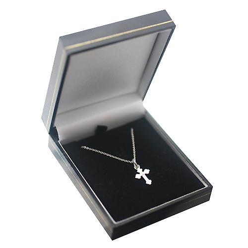 Silver 17x10mm plain club end Cross with a rolo Chain 24 inches