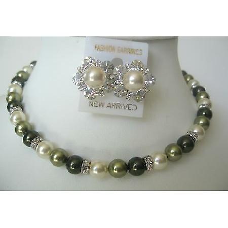 Gift Bridesmaid Mother Of Bride Groom Swarovski Pearls Necklace Set