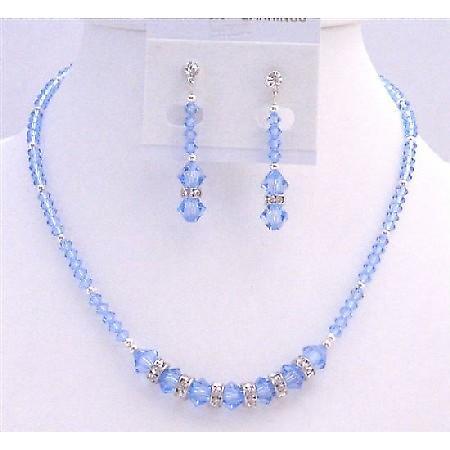 Austrian Crystals Artisan Handmade Lite Sapphire Crystals Necklace Set