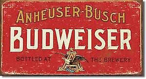 Budweiser weathered metal sign (red)   (de)
