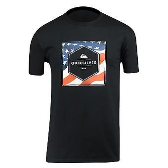 Quiksilver Mens stjärnor & randig T-Shirt-svart