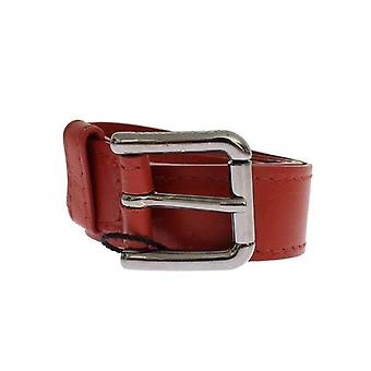 Dolce & Gabbana Red Leather Silver Buckle Logo Belt -- MOM2523269
