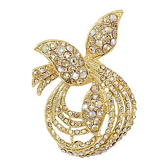 Eternal Collection Figaro Topaz Austrian Crystal Gold Tone Brooch