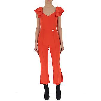 Elisabetta Franchi Red Cotton Jumpsuit