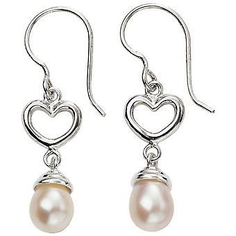 Coeur de débuts et perle boucles d'oreilles - argent