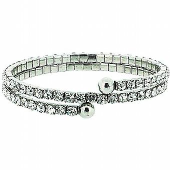 The Olivia Collection Double Row Clear Glass Set Bangle