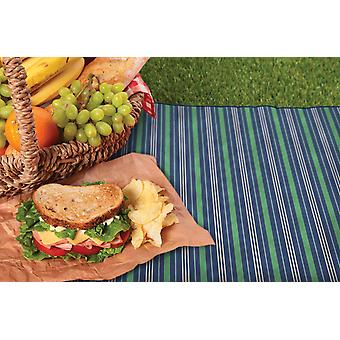 Country Club Picnic Blanket with Bag, Blue Stripe