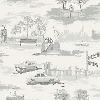 Brooklyn Bridge Trees New York Toile Wallpaper Metallic Silver Grey Holden Decor