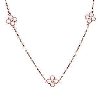 Long CZ Flower Quartz Necklace Rose Gold Pink 925 Silver Chain Boxed Gift Strand