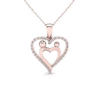 IGI Certified 10K Rose Gold 0.08ct TDW Diamond Mother & Child Heart Necklace