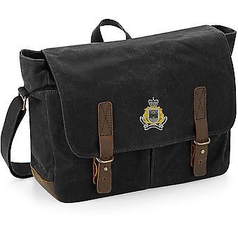 Royal Gibraltar Regiment-licenciado British Army bordados encerado lona Messenger Bag