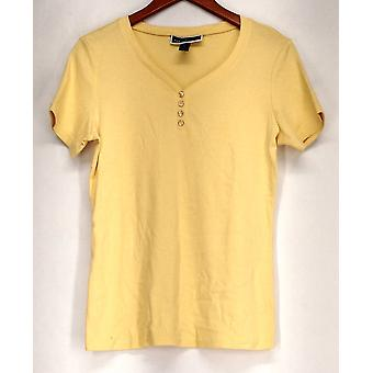 Style & Co. Top 3/4 Sleeve V-Neck Button Detail Yellow NEW