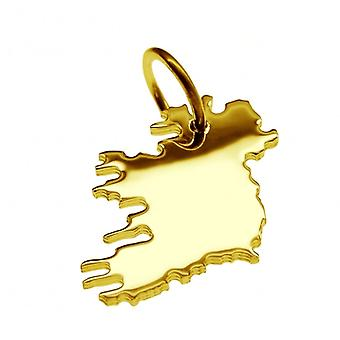 Pendant map chain pendant in gold yellow-gold in the shape of IRELAND complete