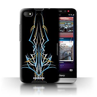 STUFF4 Case/Cover voor Blackberry A10/blauw/geel/Tribal Pinstripe