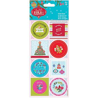 Papermania Folk Christmas Stickers-Linen Finish PM157950