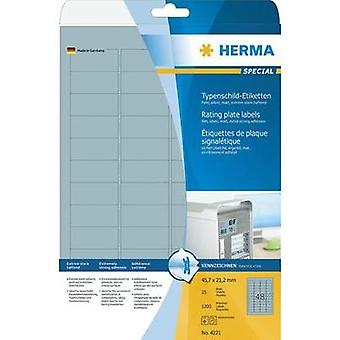 HERMA Rating plate labels A4 45.7x21.2 mm silver extra strong adhesion film matt 1200 pcs. Herma Typenschild-Etiketten