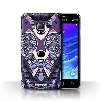STUFF4 Case/Cover for Samsung Z1/Z130/Wolf-Purple/Aztec Animal