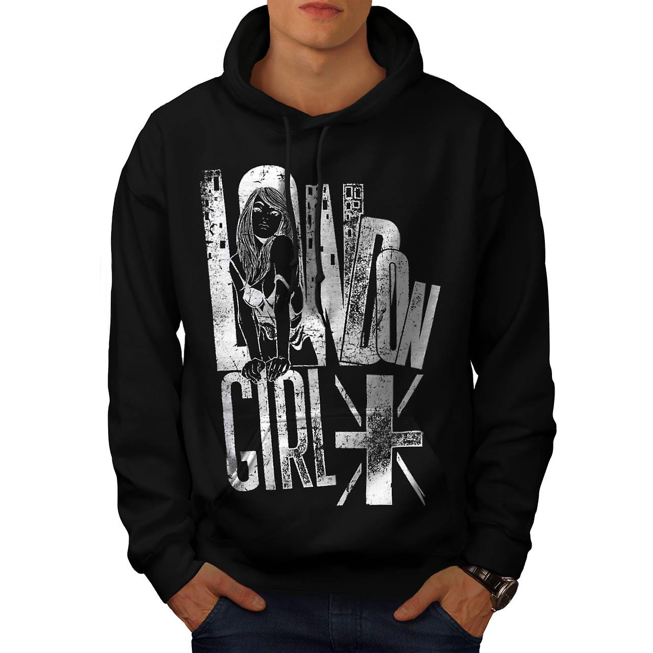 Royal London Girl UK Britain GB Men Black Hoodie | Wellcoda