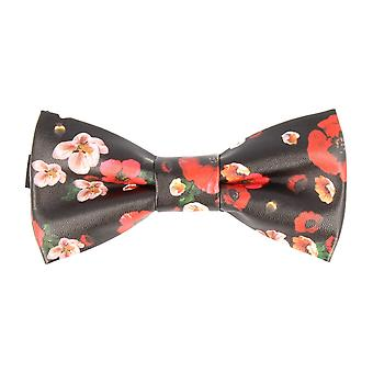 Pop art of ties fly tied bow tie faux leather floral green loop bow tie
