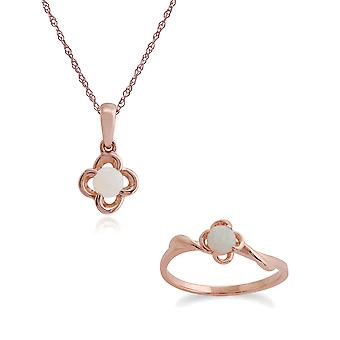 Gemondo 9ct Rose Gold opaal Floral 45cm ketting & Ring Set
