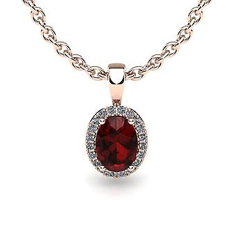10K Rose Gold 0.62 Carats Garnet And Diamond Pendant (0.07 Cttw, G-H Color, I1-I2 Clarity)