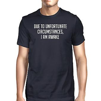 Unfortunate Circumstances Men Navy T-shirts Funny Typographic Tee