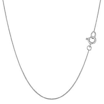 14k White Gold Classic Mirror Box Chain Necklace, 0.6mm