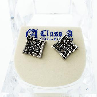 Black bling iced out earrings - PAVE SQUARE 9 mm