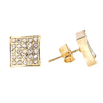 Gold bling iced out earrings - SQUARE 10 mm