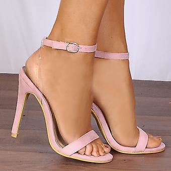 Shoe Closet Pink Stilettos - Ladies ED73 Baby Light Pink Barely There Stilettos Peep Toes Strappy Sandals High Heels