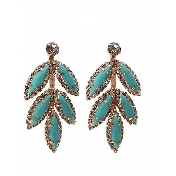 W.A.T Turquoise And Clear Crystal Leaf Shaped Earrings