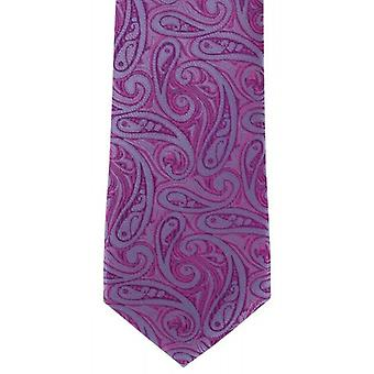Michelsons of London Bold Paisley Silk Tie - Magenta Purple/Blue