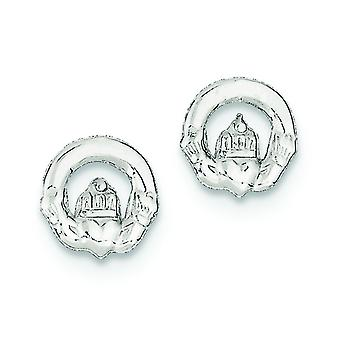 Plata de ley pulida Post pendientes de Claddagh Mini para muchachos o muchachas Earringss - 1,1 gramos