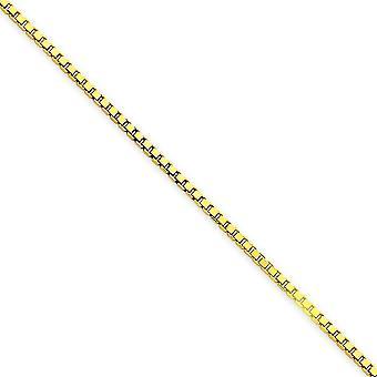 14 k ゴールド イエローの洗練されたロブスター爪閉鎖 1.5 mm ボックス チェーン ブレスレット 7 インチ - ロブスター爪
