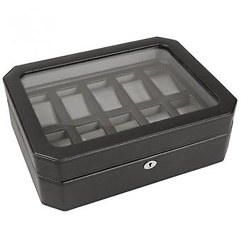 Wolf Designs 10 Piece Silver & Black Leather Watch Box