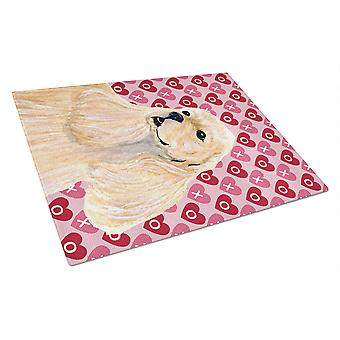 Cocker Spaniel Hearts Love and Valentine's Day Glass Cutting Board Large
