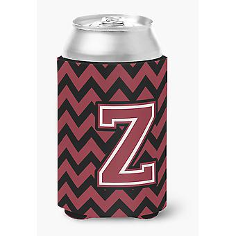 Letter Z Chevron Garnet and Black  Can or Bottle Hugger