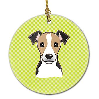 Checkerboard Lime Green Jack Russell Terrier Ceramic Ornament