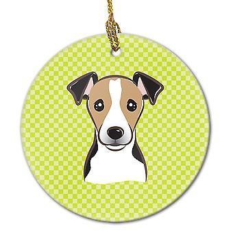 Scacchiera calce verde Jack Russell Terrier in ceramica ornamento