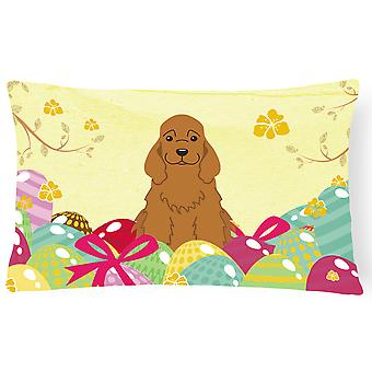Easter Eggs Cocker Spaniel Red Canvas Fabric Decorative Pillow