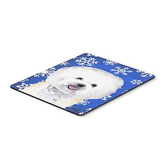 Bichon Frise Winter Snowflakes Holiday Mouse Pad, Hot Pad or Trivet