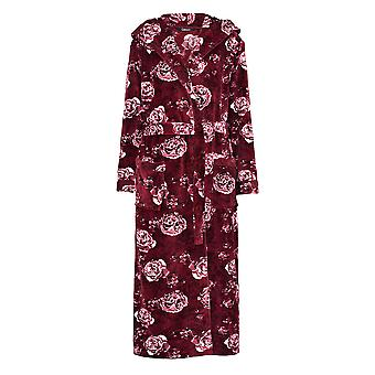 Slenderella GL8746 Women's Rasberry Red Floral Robe Long Sleeve Dressing Gown