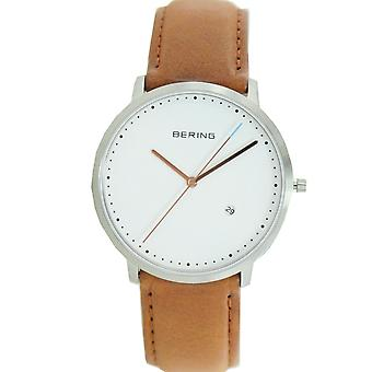 Bering mens watch wristwatch slim classic - 11139-504 leather