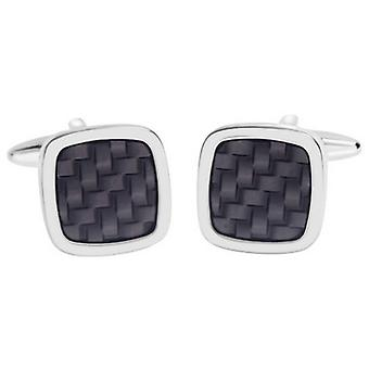 David Van Hagen Shiny Square Enamel Lattice Design Cufflinks - Black/Silver