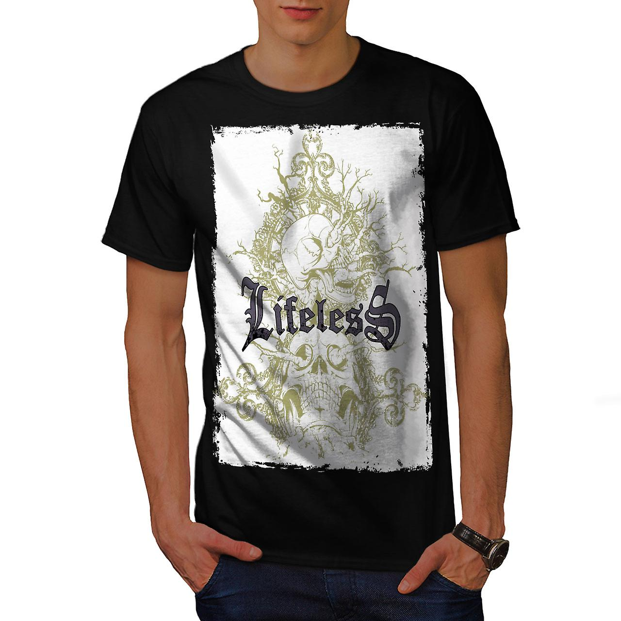 Lifeless Gothic Skull Men Black T-shirt | Wellcoda
