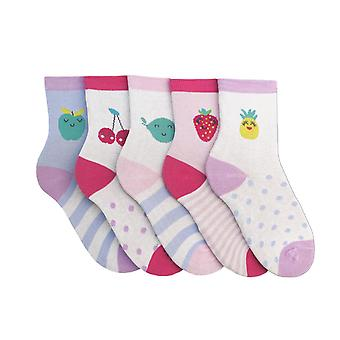 Childrens Girls Patterned Fruit Design Socks (Pack Of 5)